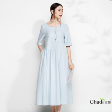 Embroidered Medium-sleeve Ethnic Wind and Round-neck New Style Women's Dresses in Spring and Summer of 2019 Other/Other Cotton Pure