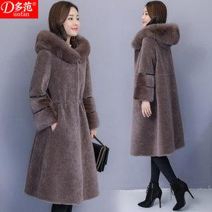 妈妈羊剪绒大衣女2018冬季新款中长款水貂皮毛一体狐狸毛皮草外套