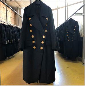 高端 2018新款专柜大牌 修身 风衣大翻领羊绒<span class=H>大衣</span>.女装双面羊毛呢
