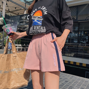 2019夏季薄款运动短裤女居家休闲韩版裤衩宽松显瘦阔腿纯棉三分裤