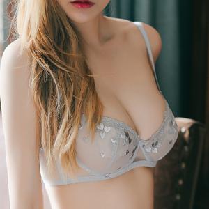 少女美屋性感超薄蕾�z透明情趣文胸�W�刺�C�T惑�纫�W生粉色胸罩