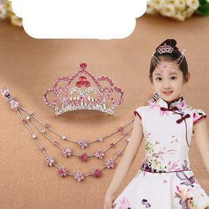 可爱白纱裙花童成人小孩子的皇冠公主儿童头饰唯美头纱森女水晶钻