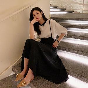 雪纺半身裙公子2019女夏新款黑色高腰显瘦韩版气质A字中长吊带裙