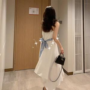 雪纺连衣裙公子女2019韩版夏气质宽松系带不规则中长款白色<span class=H>吊带裙</span>