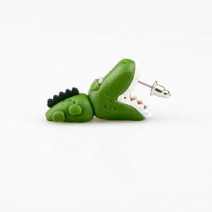 创意时尚动物 <span class=H>软陶</span>工艺耳饰纯手工制作 绿色霸气鳄鱼耳钉一对<span class=H>耳环</span>