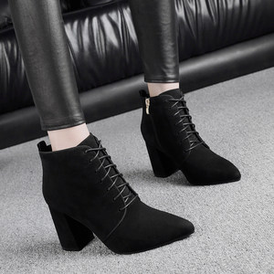 真皮尖头短靴女粗跟高跟秋冬加绒短筒女靴<span class=H>裸靴</span>磨砂马丁靴黑色系带