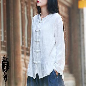复古盘扣女式开衫中国风 2018秋季棉麻立领纯色上衣短款宽松衬衫