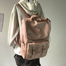 2018 New Retro Oil Wax Skin Shoulder Bag Girl Campus Literature and Art High School Bag Couple Travel Backpack