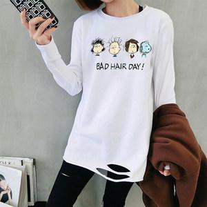 2019新款下摆破洞白色T恤女宽松显瘦中长款长袖打底衫上<span class=H>衣服</span>女潮