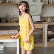 Summer sleeveless vest, cotton pajamas, short sleeves, two-piece suit