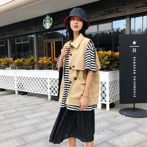女<span class=H>马甲</span>2019年春款韩版短款薄款多口袋工装休闲外搭时尚学生学院风