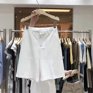 juice5510高腰西装短裤女夏2019新款韩版显瘦雪纺休闲直筒五分裤