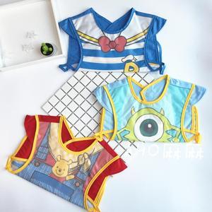 迪斯尼同款宝宝<span class=H>罩衣</span>无袖儿童围裙小孩吃饭衣围兜婴儿防水反穿衣