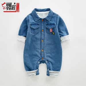 婴儿牛仔<span class=H>连体衣</span>春秋装 0-1岁纯棉长袖薄款三四个月男宝宝衣服韩版