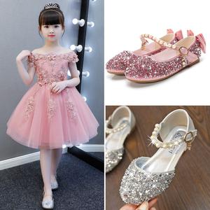 儿童时尚公主鞋包头凉鞋女童舞台小主持人表演出走秀花<span class=H>童鞋</span>礼服鞋