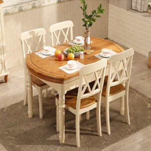 地中海<span class=H>餐桌</span>椅组合圆形饭桌乡村田园实木家具美式风格伸缩折叠圆桌