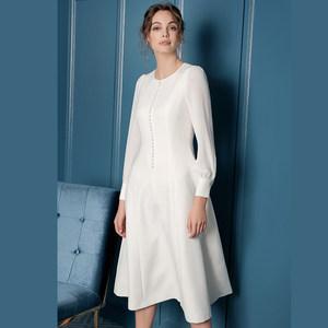 绝色时尚白色高端气质连衣裙春装2019<span class=H>长裙</span>欧美大牌名媛新款ol女装