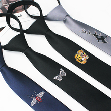 5 cm individuality embroidery tie ins Chinese dragon ancient wind, crane, tiger, male and female students Korean version of narrow, tidy and lazy person