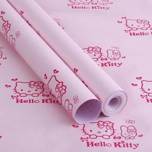 可爱kitty猫卡通粉墙纸卧室温馨女孩<span class=H>壁纸</span>学生宿舍寝室改造ins风潮
