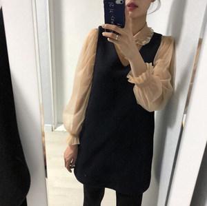 韩国ins2018冬季新款减龄洋气百搭显瘦好搭配V领毛呢背心裙<span class=H>连衣裙</span>