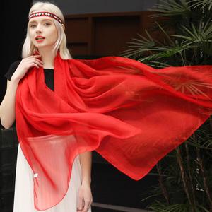 2019春秋新款大红色丝巾女长款夏季超大沙滩防晒披肩百搭围巾薄款