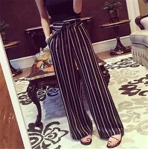 2019春夏黑色条纹显瘦百搭阔腿裤高腰长裤时尚休闲裤子女宽松韩版