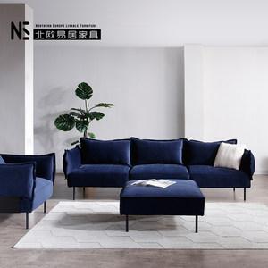 北欧布艺沙发现代简约小户型客厅组合羽绒布轻奢丝绒网红沙发