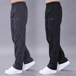 春夏单层运动裤男休闲长裤薄款透气涤纶滑面卫裤宽松加大码直筒裤