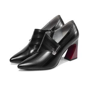 欧美2019秋冬新款里外真皮<span class=H>女鞋</span>尖头粗跟高跟鞋水钻金属深口单鞋女