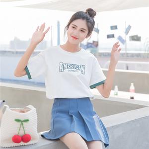 白色短袖t恤<span class=H>女装</span>2018新款潮夏装学生宽松韩版ulzzang百搭体恤上衣