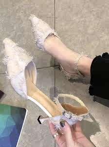 工作2019休闲甜美潮流少女高跟鞋一字扣包头凉鞋女夏ins大气细跟