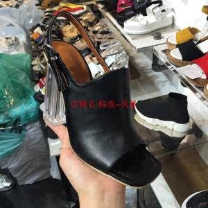 实拍韩国代购女鞋17夏欧美<span class=H>大牌</span>优雅露趾银色透明高跟扣带<span class=H>休闲</span><span class=H>凉鞋</span>