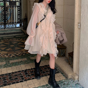 很仙的雪纺连衣裙2019新款夏天流行<span class=H>裙子</span>气质显瘦荷叶边小清新温柔