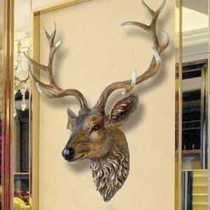 欧式鹿头壁挂招财客厅餐厅玄关酒吧背景墙面装饰复古创意壁饰<span class=H>挂件</span>