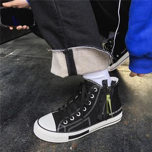 华仔穿搭2019新款超火的INS高帮帆布鞋男鞋子侧拉链休闲学生板鞋