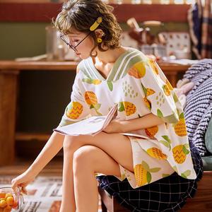 睡衣女夏季纯棉网红可爱日系睡裙短袖大码薄款情侣家居服两件套装