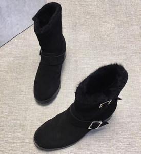 百搭休闲<span class=H>反绒</span>面<span class=H>真皮</span>低跟一脚蹬<span class=H>羊</span>皮毛一体短筒<span class=H>女靴</span>秋冬保暖棉鞋女