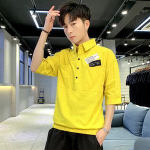 条纹衬衫男装夏季7七分袖衬衣男韩版