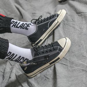 低帮<span class=H>帆布鞋</span>男韩版潮流学生百搭男鞋秋季潮鞋黑色鞋子拉链布鞋男潮