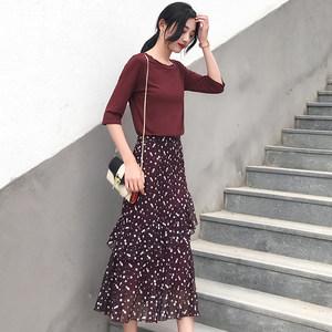 <span class=H>长裙</span>女2018春夏新款两件套装ins超火度假裙子高腰雪纺 碎花连衣裙
