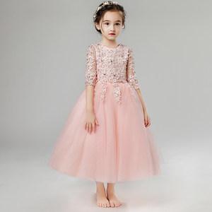 儿童晚礼服<span class=H>公主裙</span>女童长款婚纱蓬蓬裙钢琴演出服粉色冬季新款2018