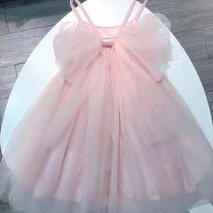现货19春夏新品女童嫩粉色后背大蝴蝶结公主纱裙蓬蓬裙连衣裙