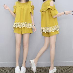 休闲套装女露肩短裤两件套韩版