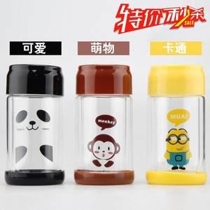 创意卡通易拉罐双层透明<span class=H>玻璃</span>水杯小黄人龙猫猴子<span class=H>熊猫</span>高棚硅随新款