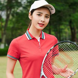 2019夏季新款半袖体恤翻领女韩版修身女士短袖t恤运动上衣<span class=H>Polo衫</span>