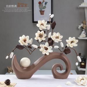 现代简约桌面客厅<span class=H>摆件</span>创意插花北欧家居装饰品陶瓷干花瓶花艺摆设