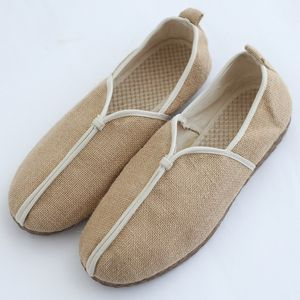 中国风<span class=H>男鞋</span>夏季亚麻鞋休闲复古布鞋一脚蹬懒人鞋套脚草编牛筋软底
