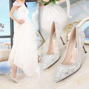 2017春季新款<span class=H>高跟鞋</span>女细跟白色尖头<span class=H>婚鞋</span>水晶晚礼服白鞋银色新娘鞋