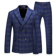 Set Men 3 Pieces Slim Fit Casual Tuxedo Suit Male