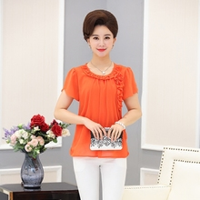 Middle aged T-shirt, female mother, summer wear, 30-40-50 year old short sleeved jacket, Korean version, loose, middle-aged women's chiffon shirt.